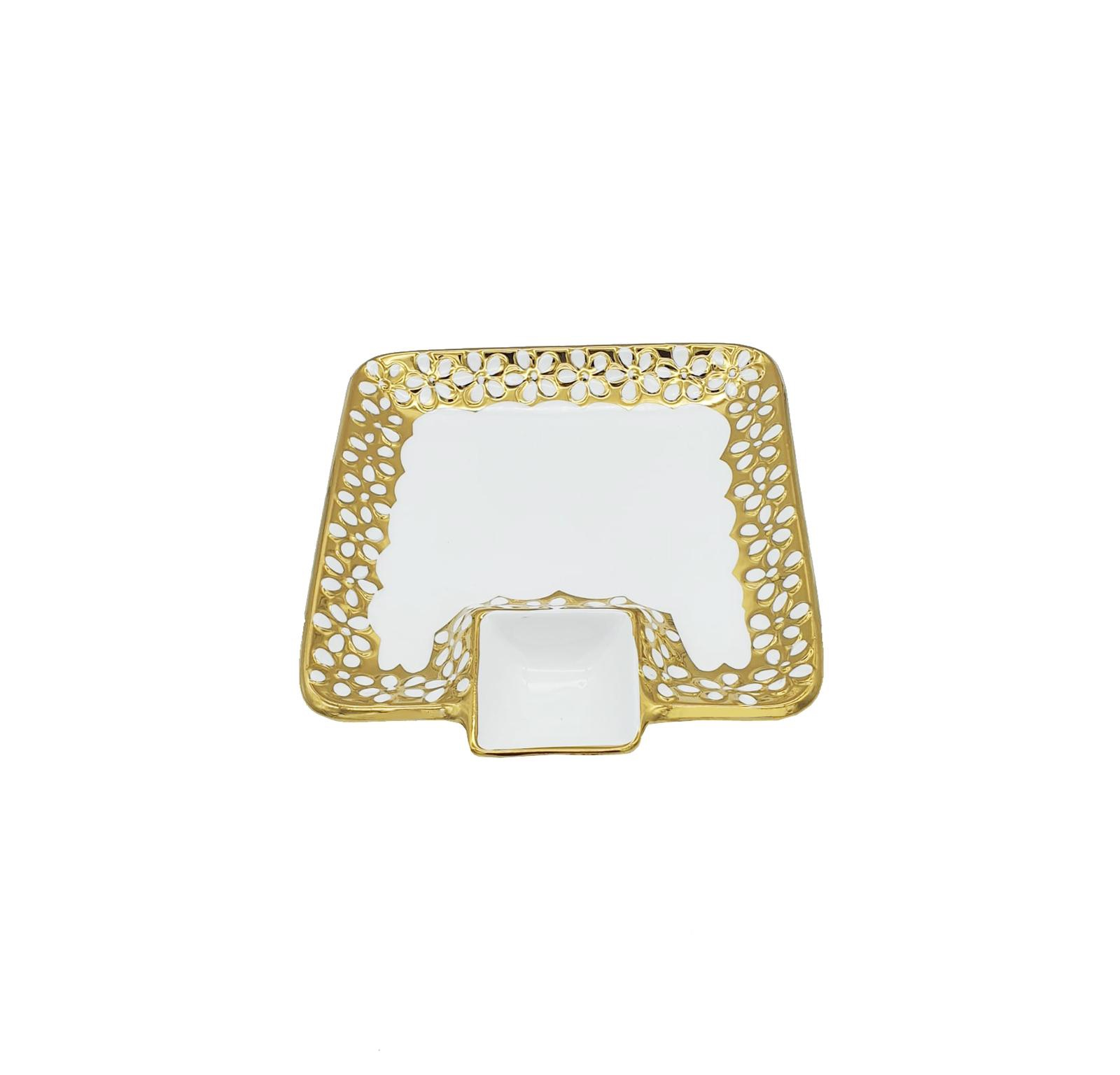 Buy White & Gold Rectangle Serving Plate