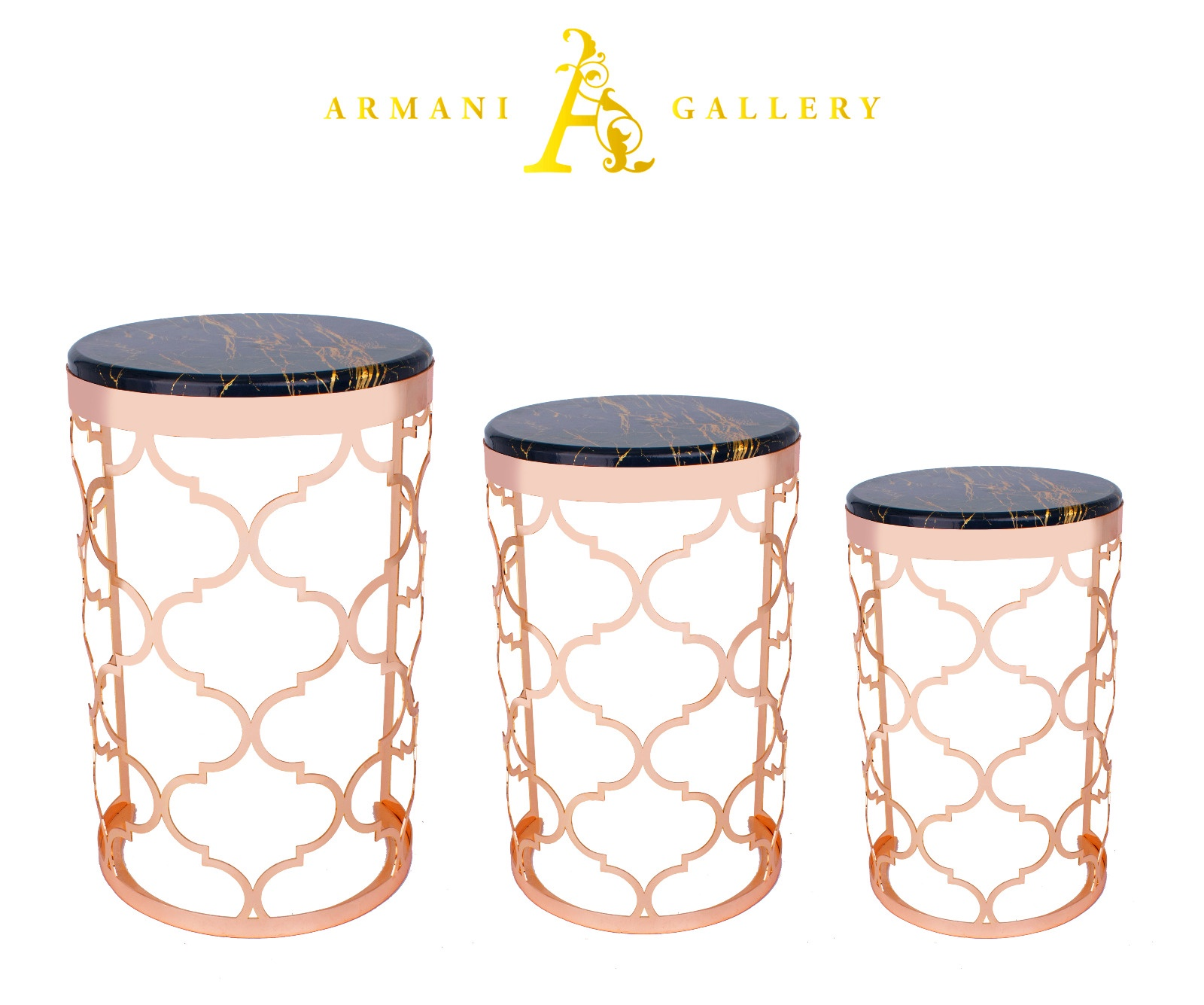 Buy Rose Gold & Black Marble Nest of Tables - Style 1