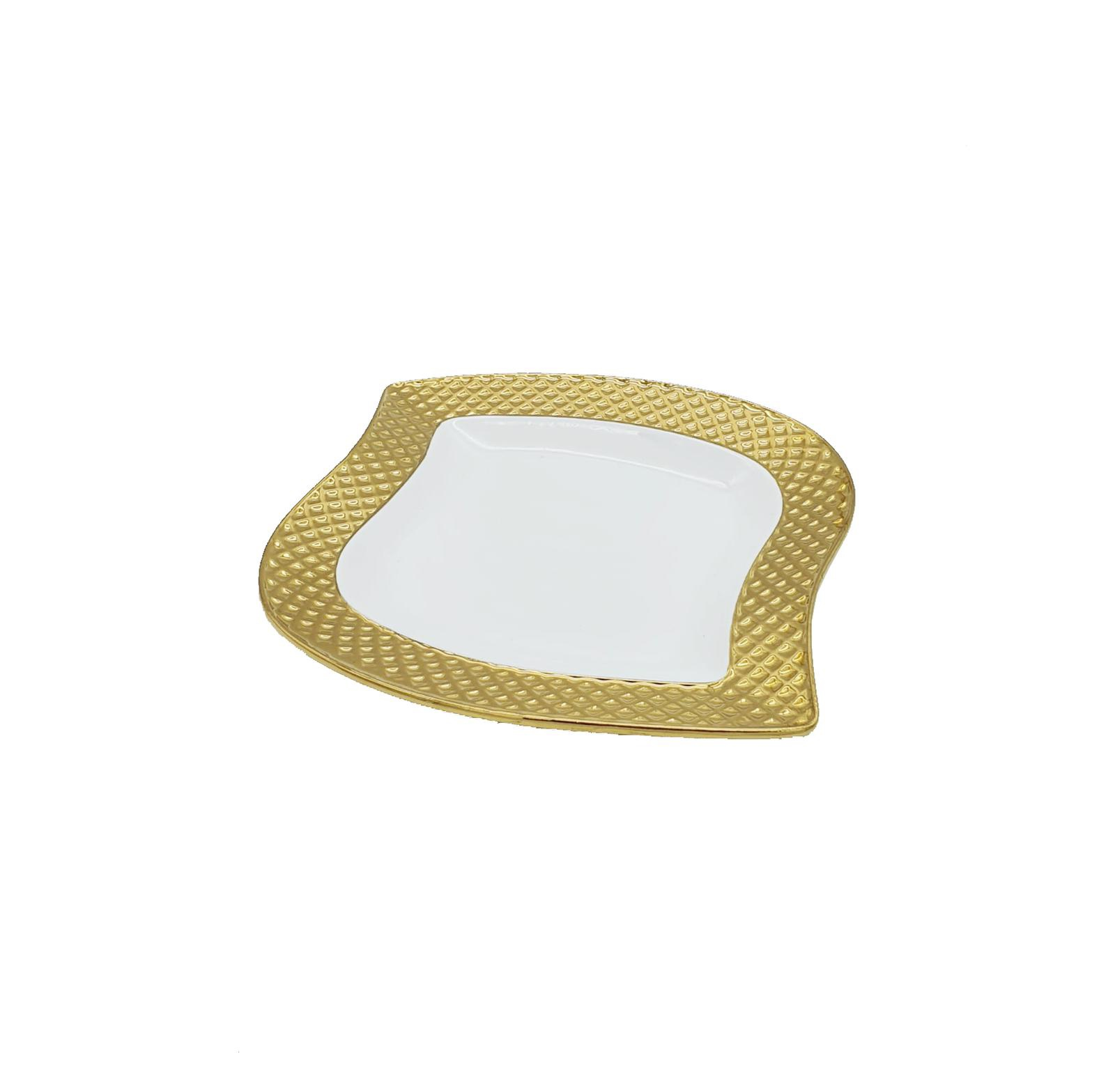 Buy White & Gold Medium Serving Plate