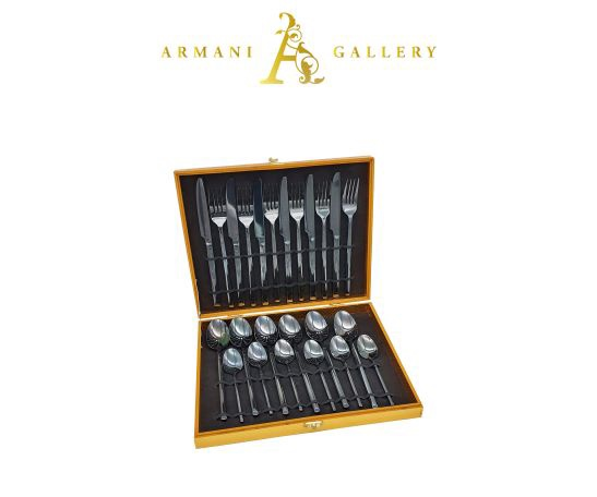 Buy Black Cutlery Set - 24 Piece
