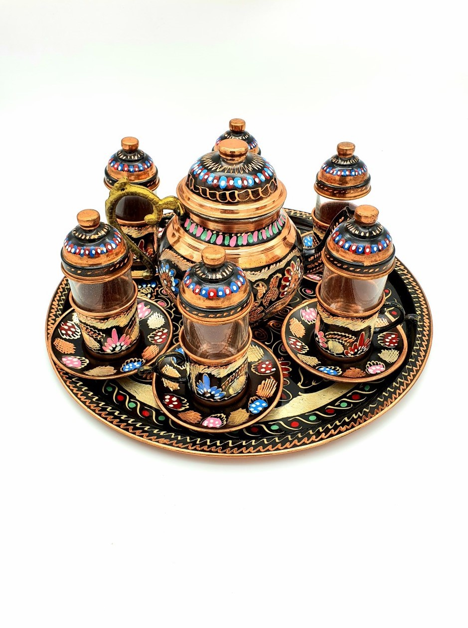 Buy Turkish Copper Tea Set with Tea Pot