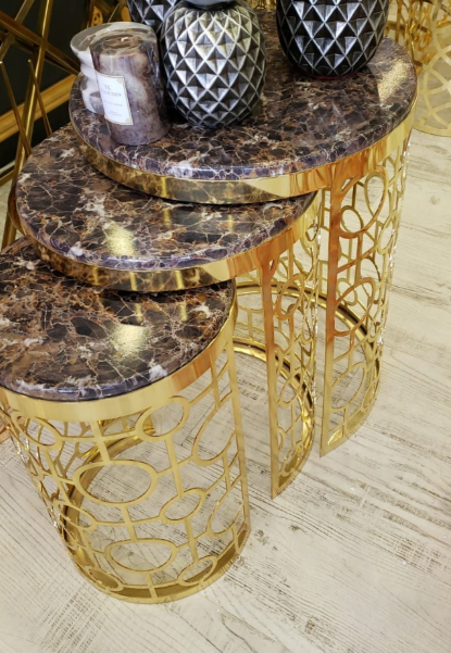 Buy Gold & Brown Marble Nest of Tables