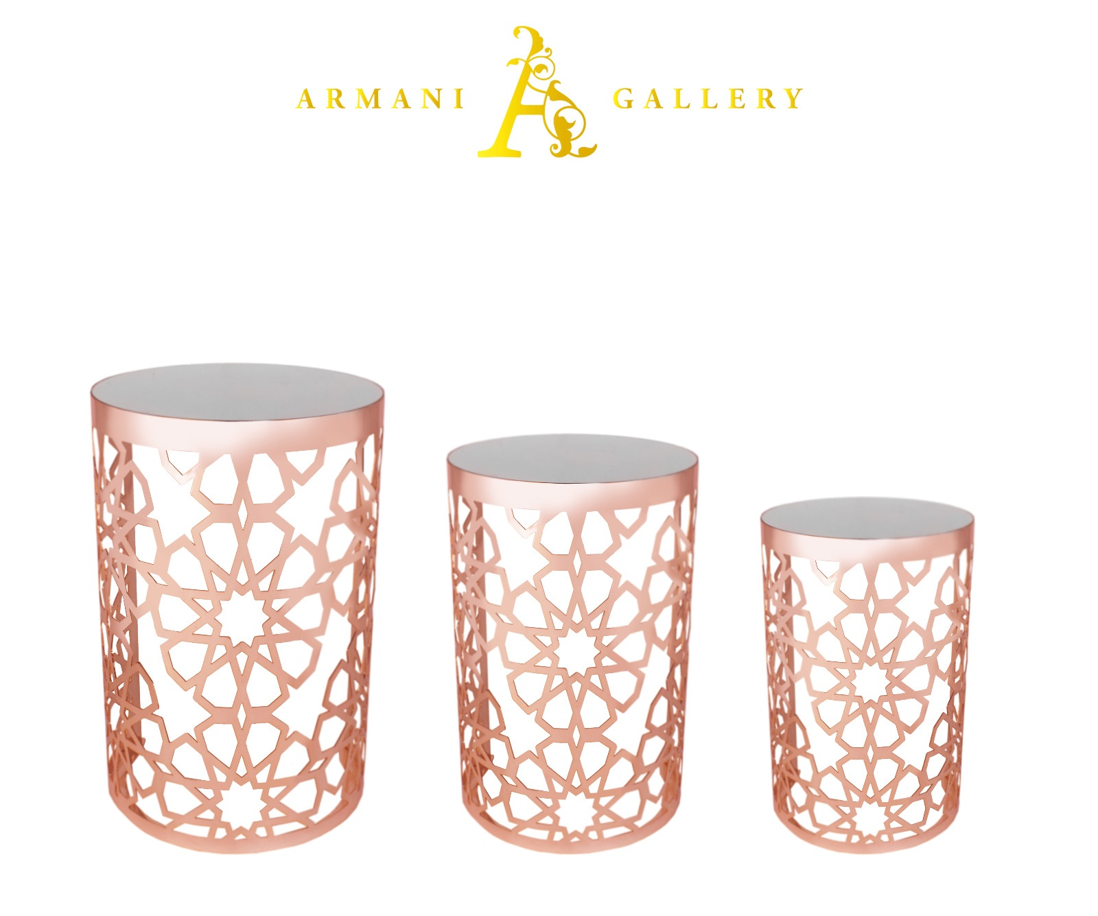 Buy Rose Gold Mirrored Nest of Tables - Style 1