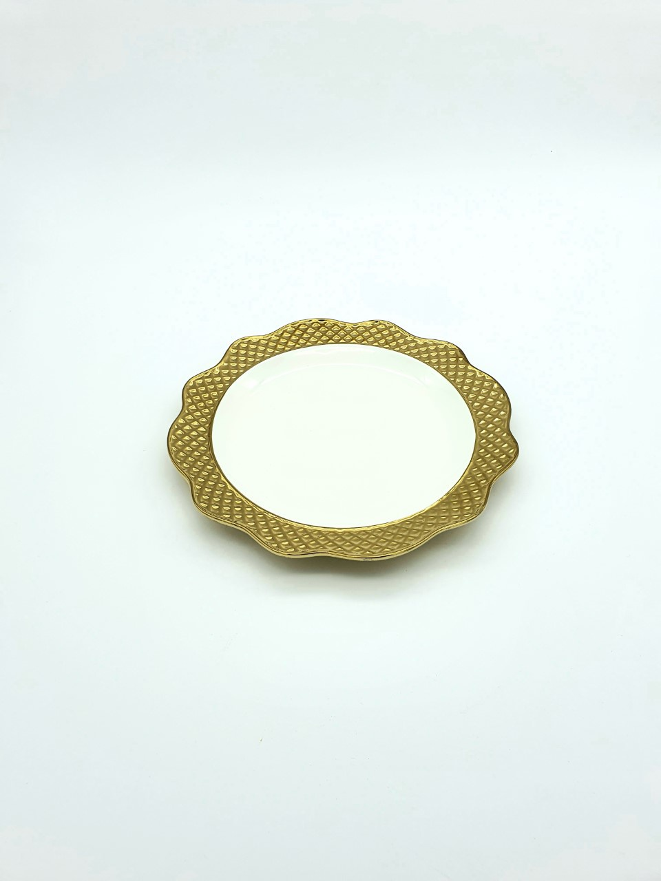 Buy White & Gold Round Serving Plate