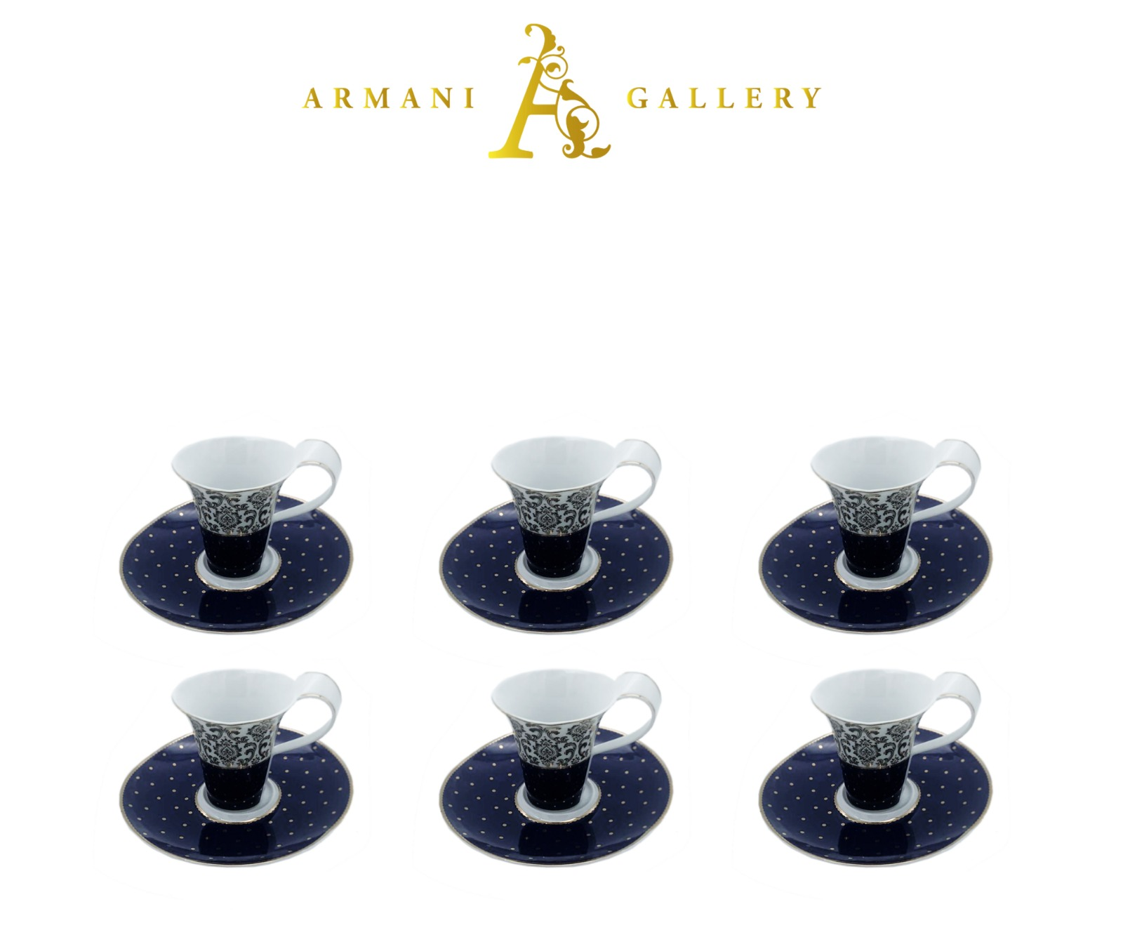 Buy Blue & Silver Polka Dot Coffee Set