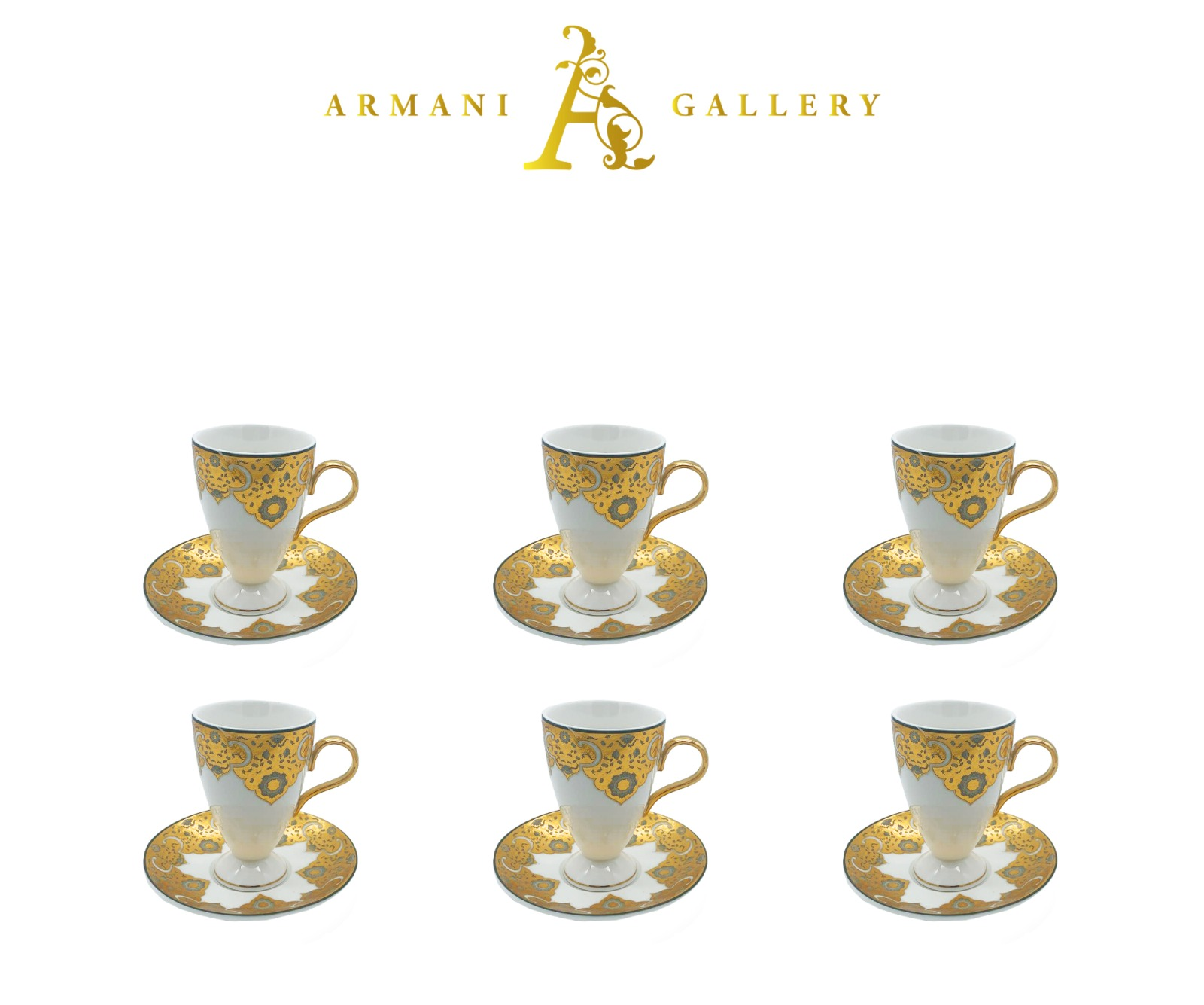 Buy Gold & White Patterned Coffee Set