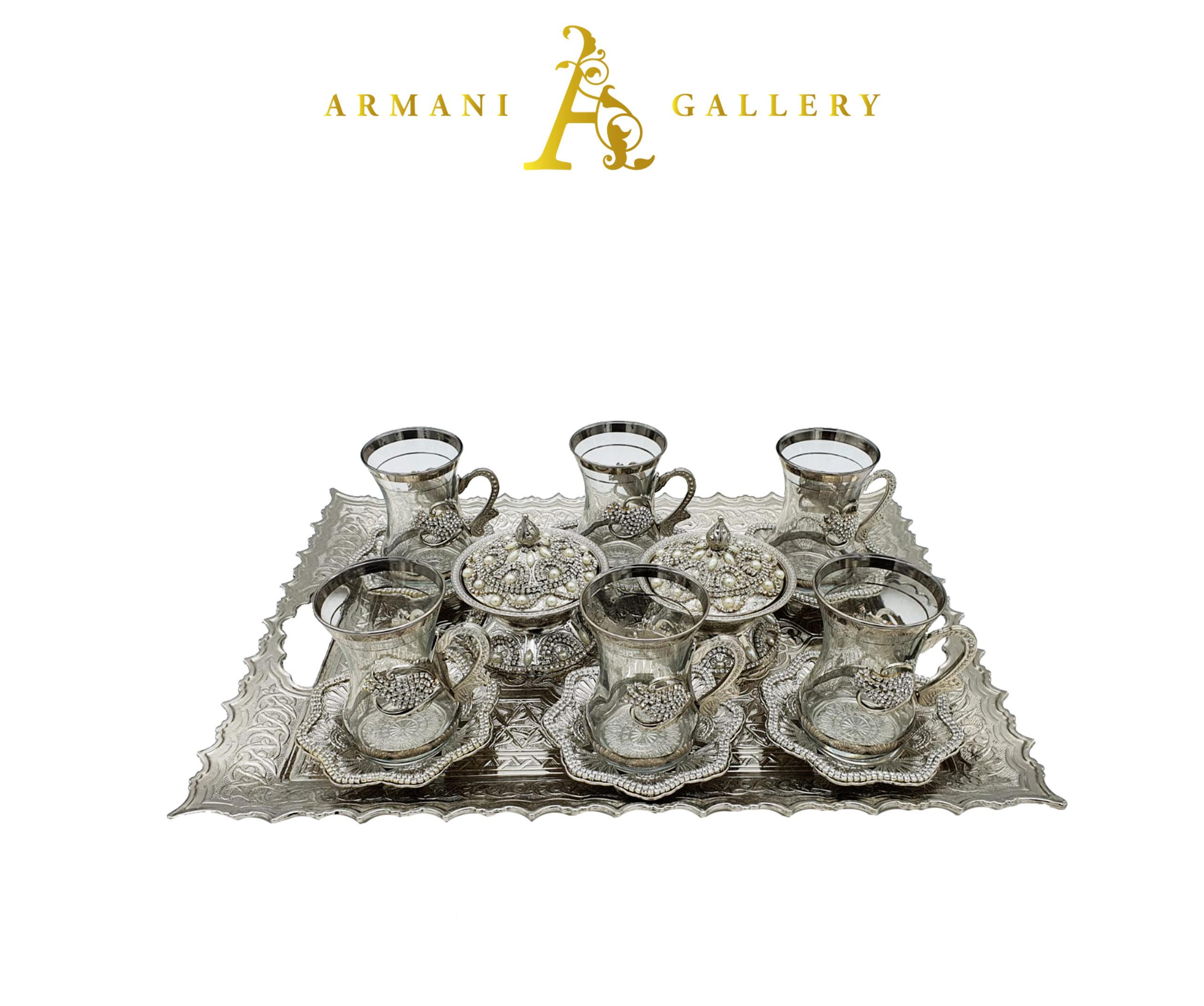 Buy Turkish Silver Tea Cup Set