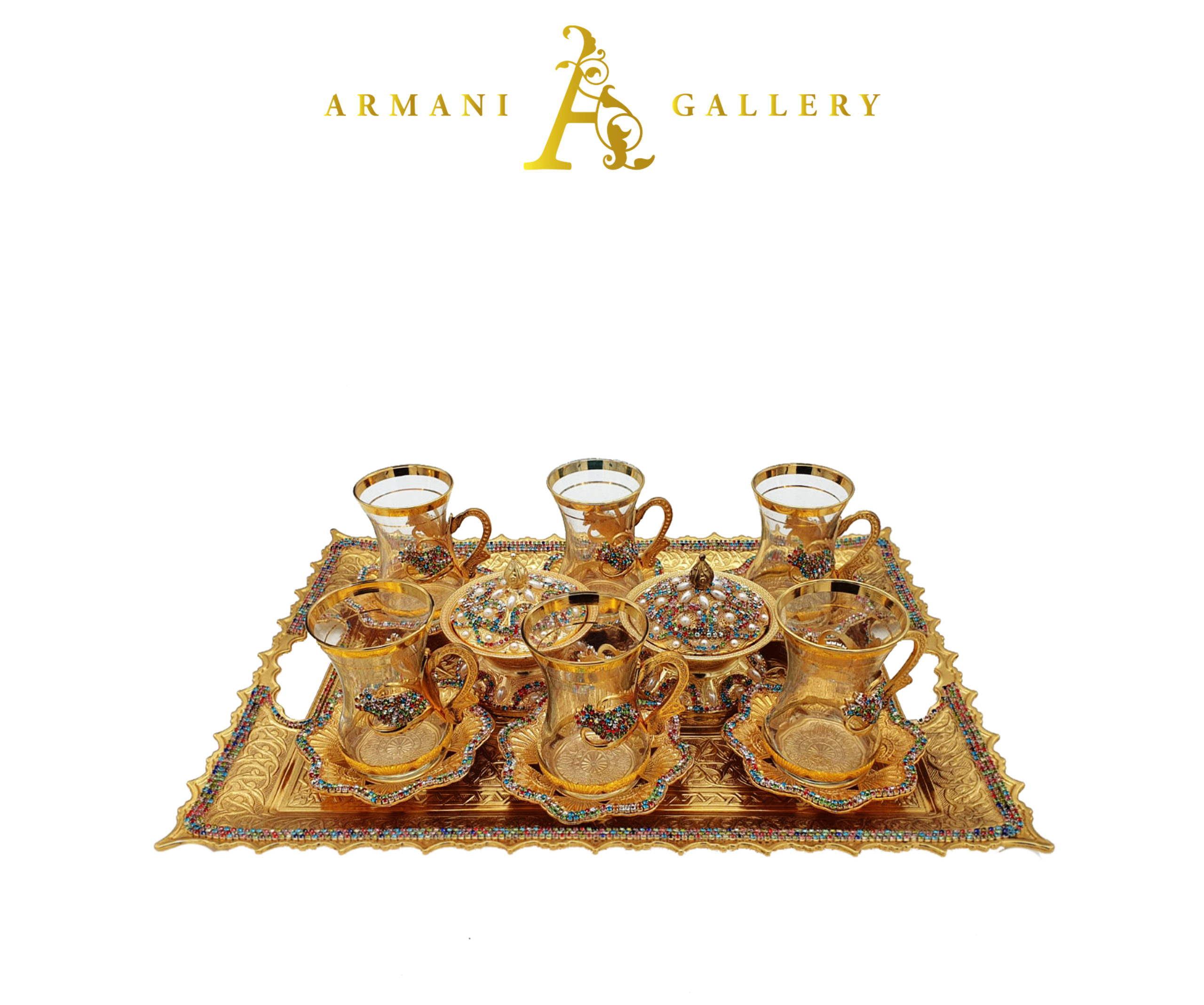 Buy Turkish Gold & Coloured Diamond Tea Cup Set