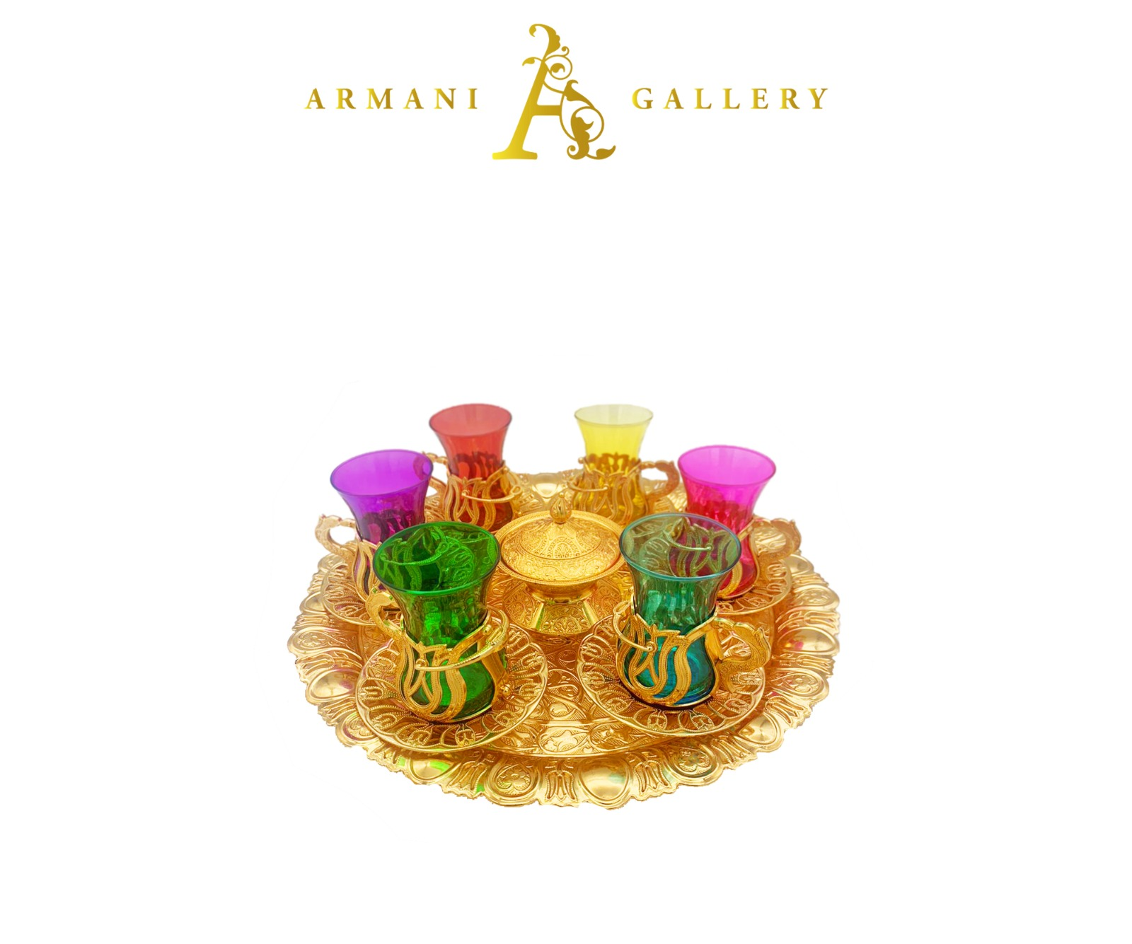 Buy Turkish Gold & Coloured Tea Cup Set with Round Tray