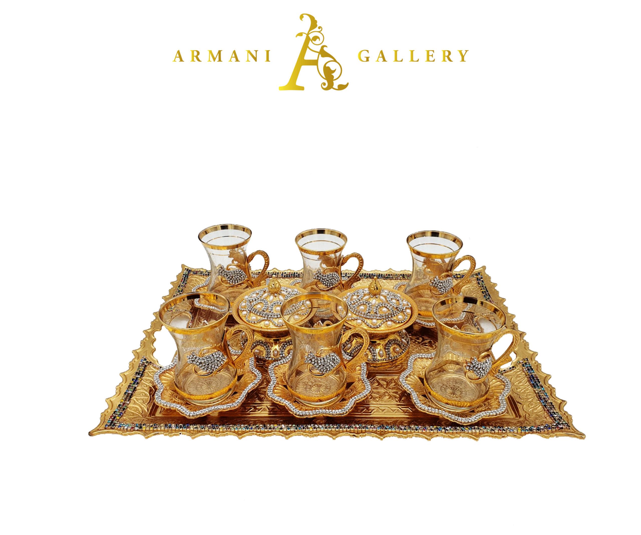 Buy Turkish Diamond & Gold Tea Cup Set