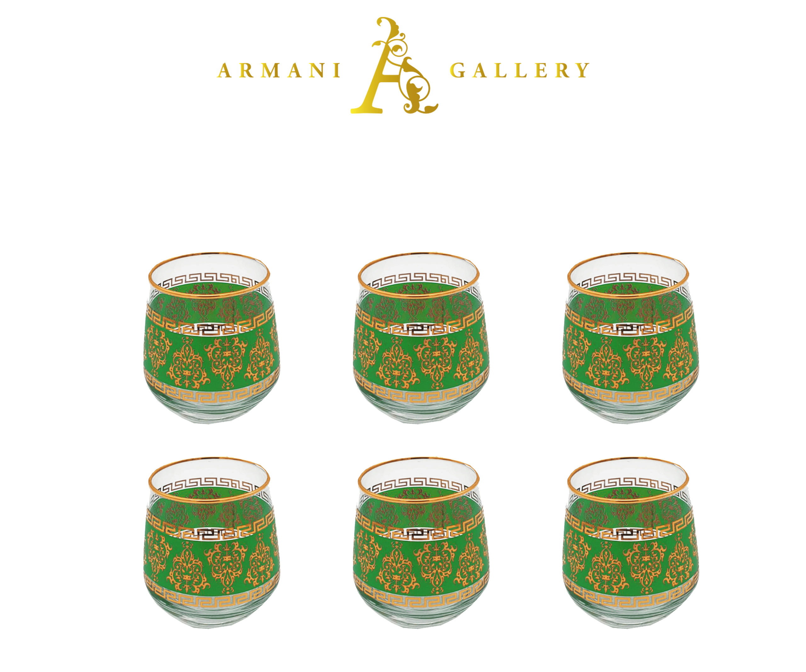 Buy Turkish Green Versace Drinking Glass Set