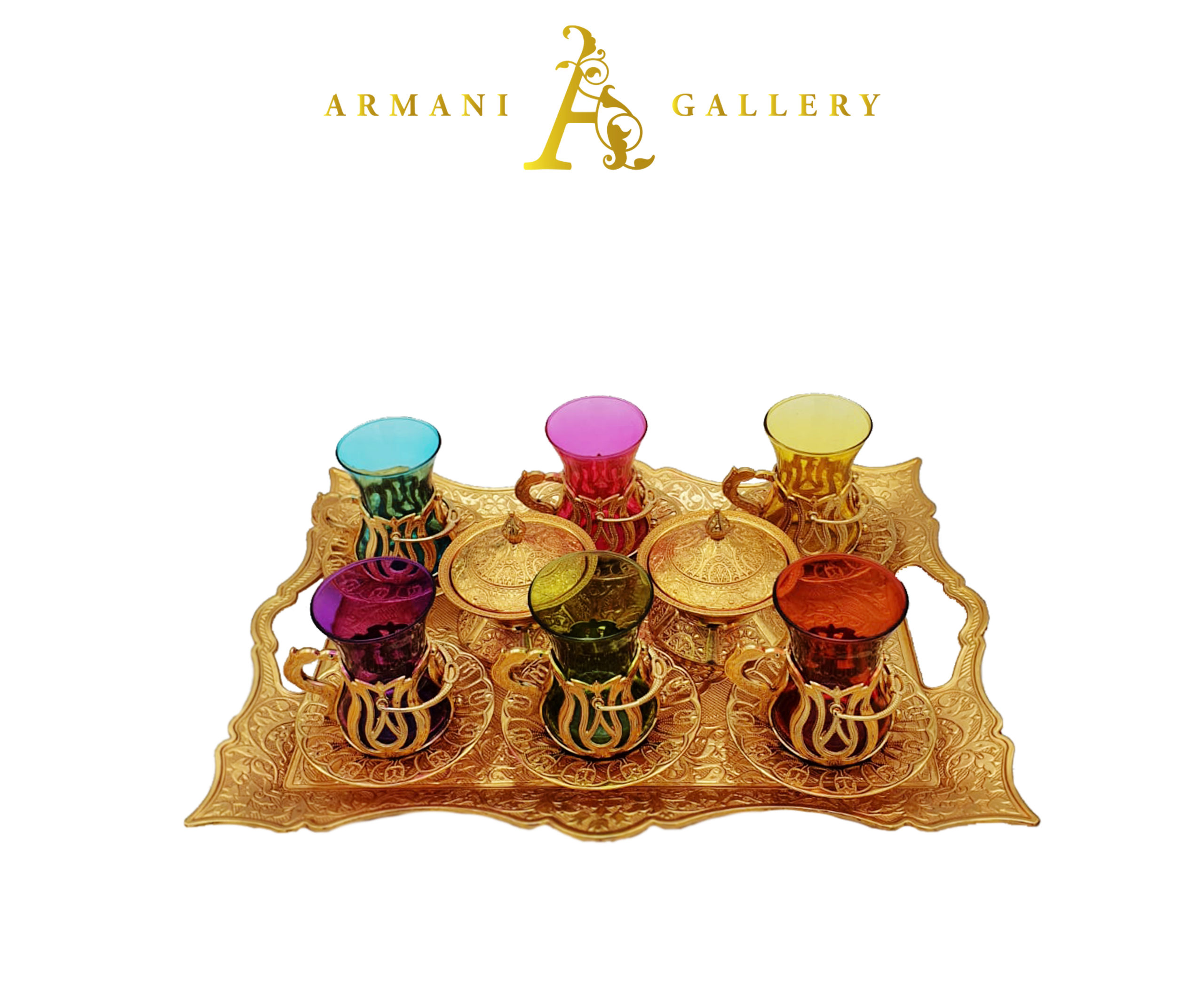 Buy Turkish Gold & Coloured Tea Cup Set with Rectangle Tray