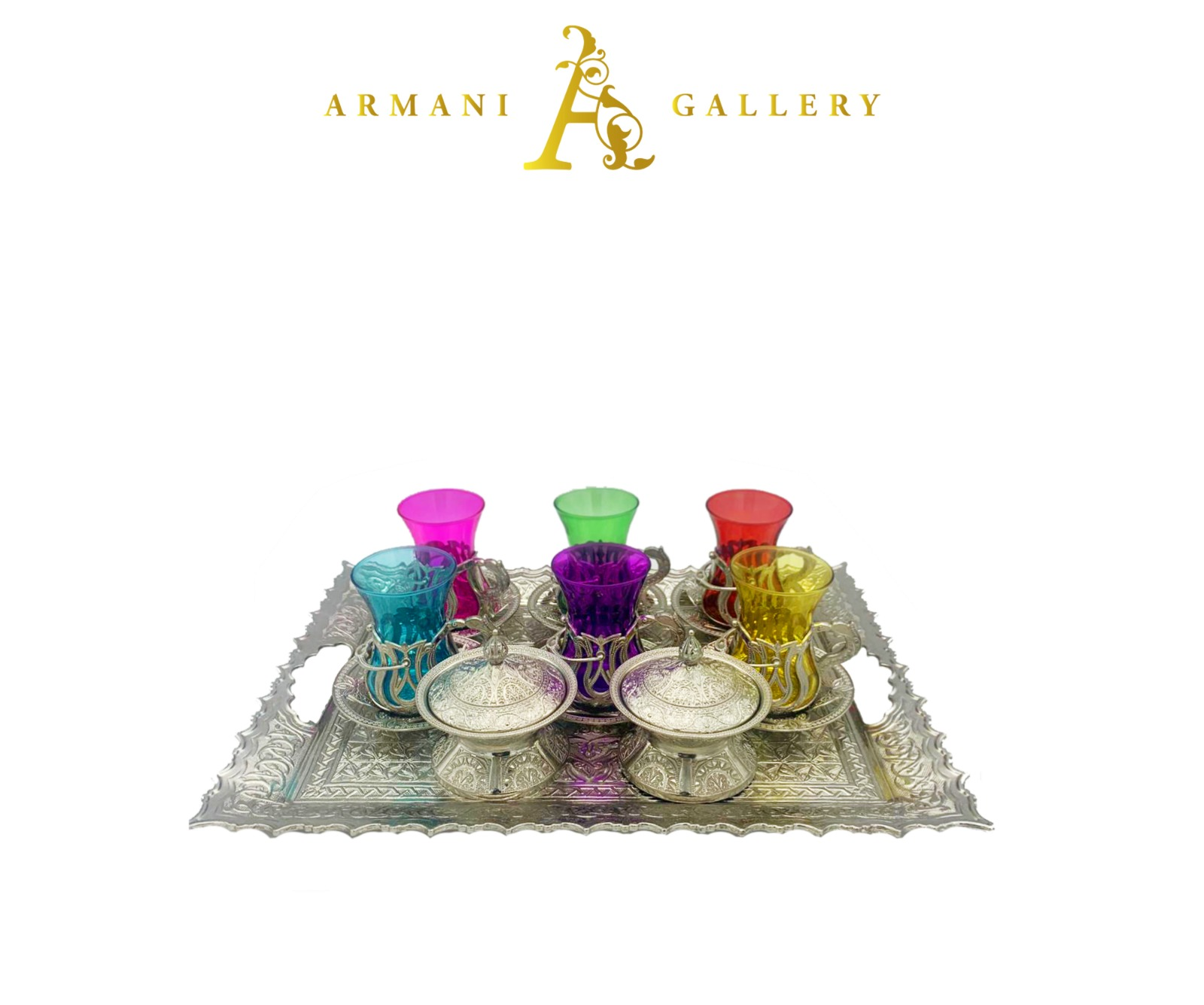 Buy Turkish Silver & Coloured Tea Cup Set with Rectangle Tray