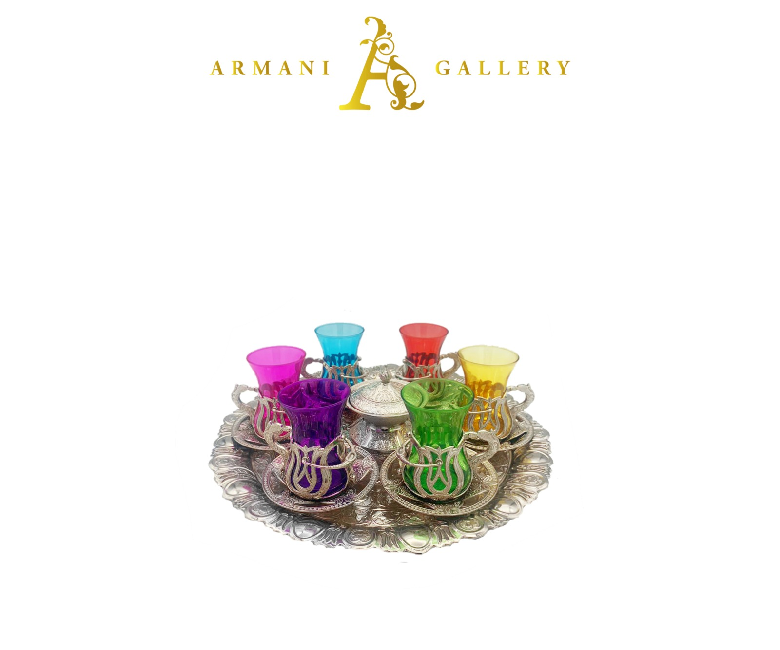 Buy Turkish Silver & Coloured Tea Cup Set with Round Tray