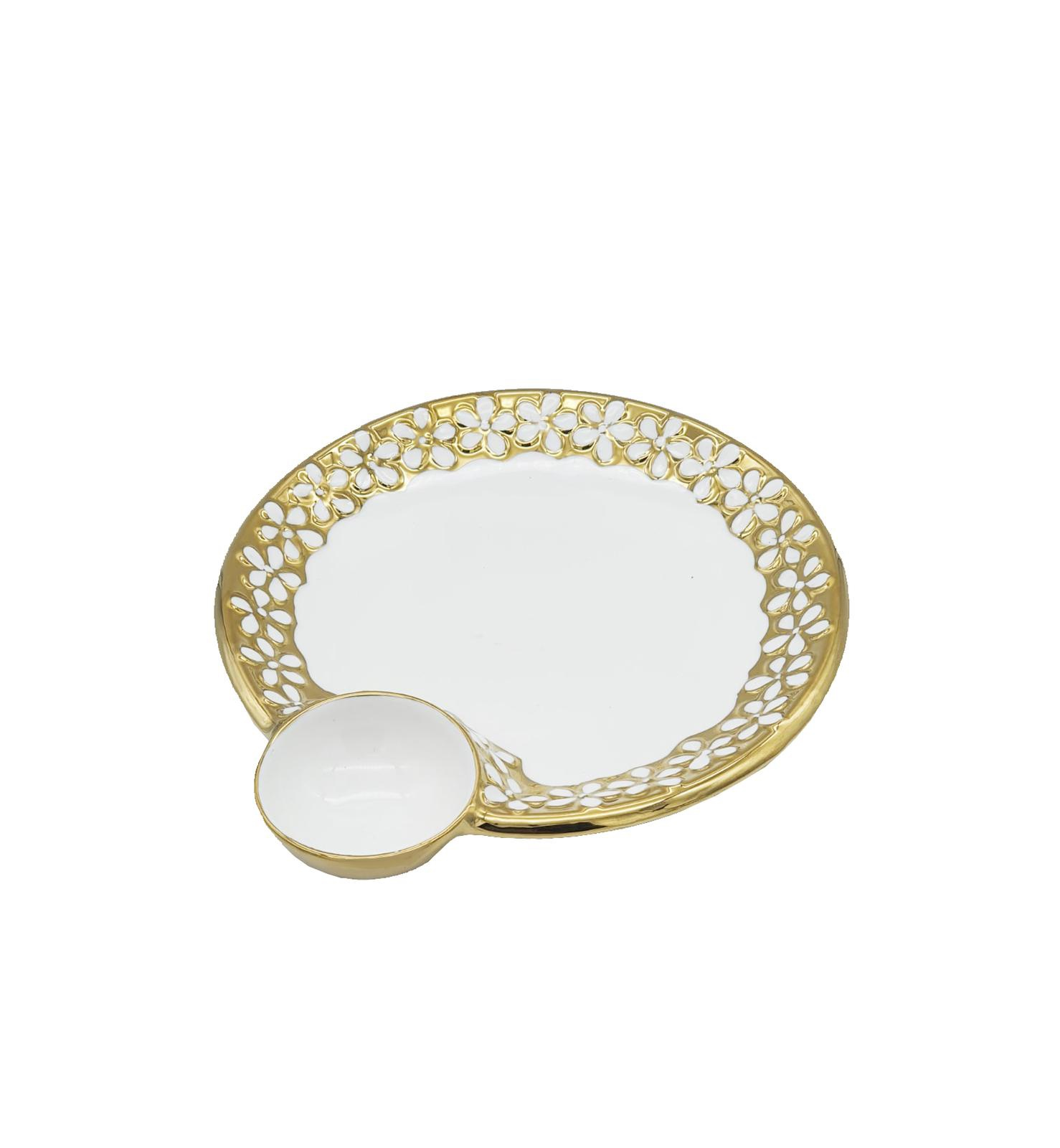 Buy White & Gold Round Dip Serving Plate