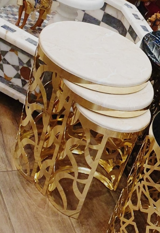 Buy Gold & White Marble Nest of Tables
