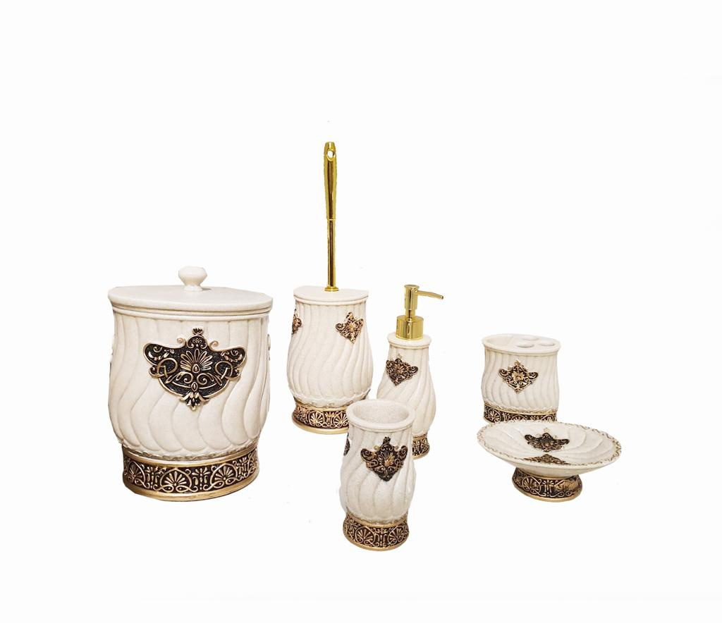 Buy Bath Set H0058 White & Gold