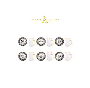 Buy Turkish Black & Gold Rim Tea Cup Set