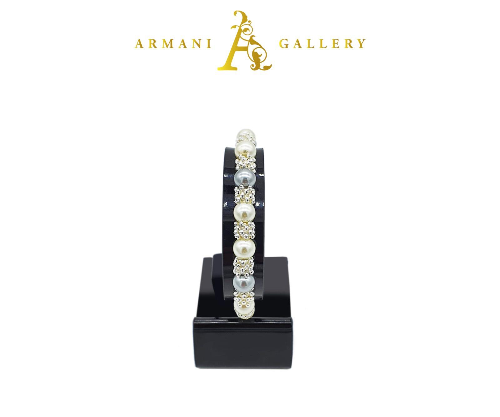 Buy Diamonte & Pearl Balls Bracelet - Silver
