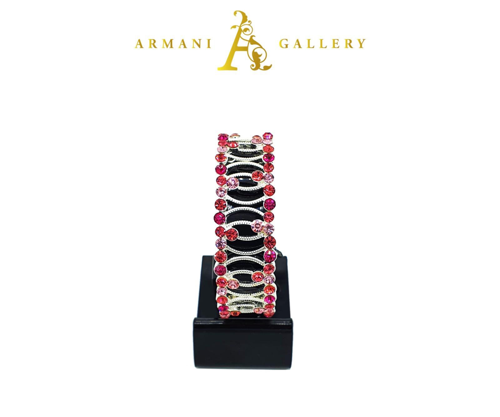 Buy Diamond Swivel Bracelet - Silver, Maroon & Pink