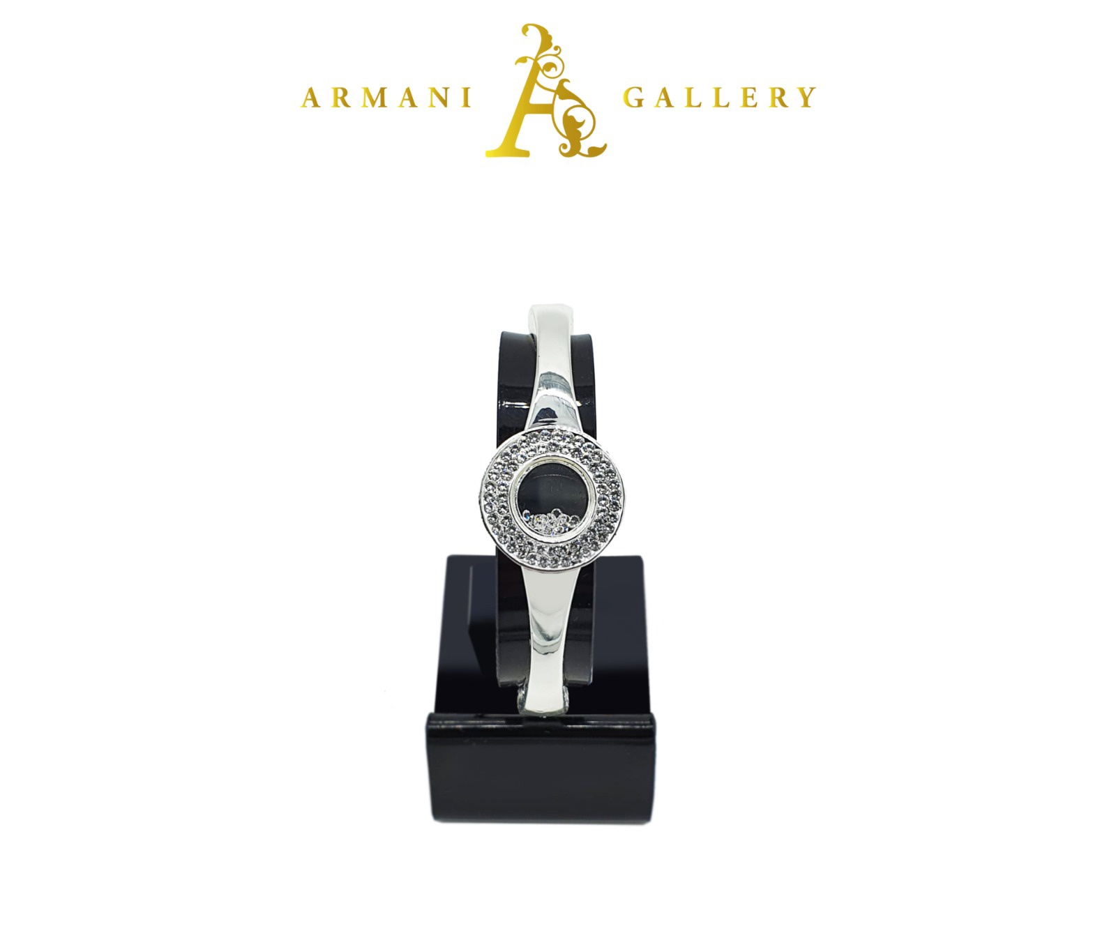 Buy Round Faced Bracelet - Silver & Black