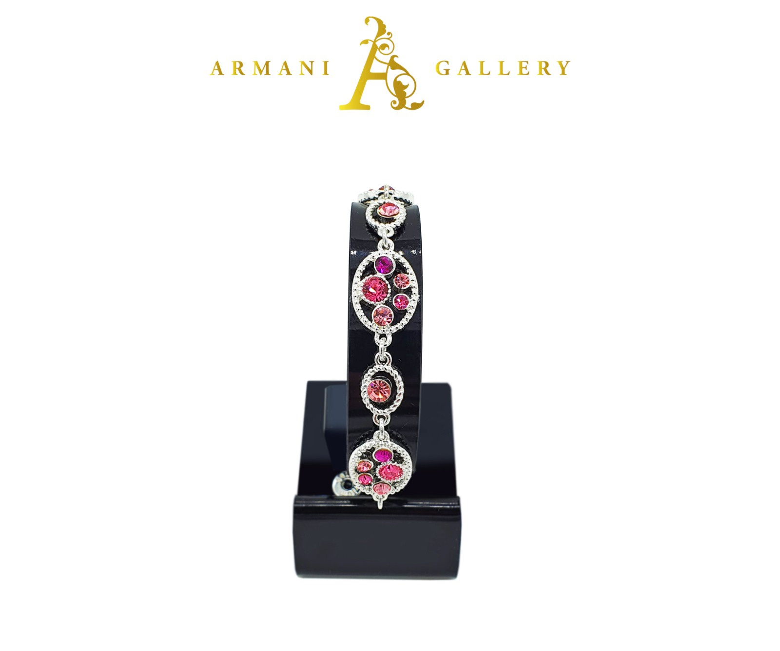 Buy Oval Diamonds Bracelet - Silver & Pink
