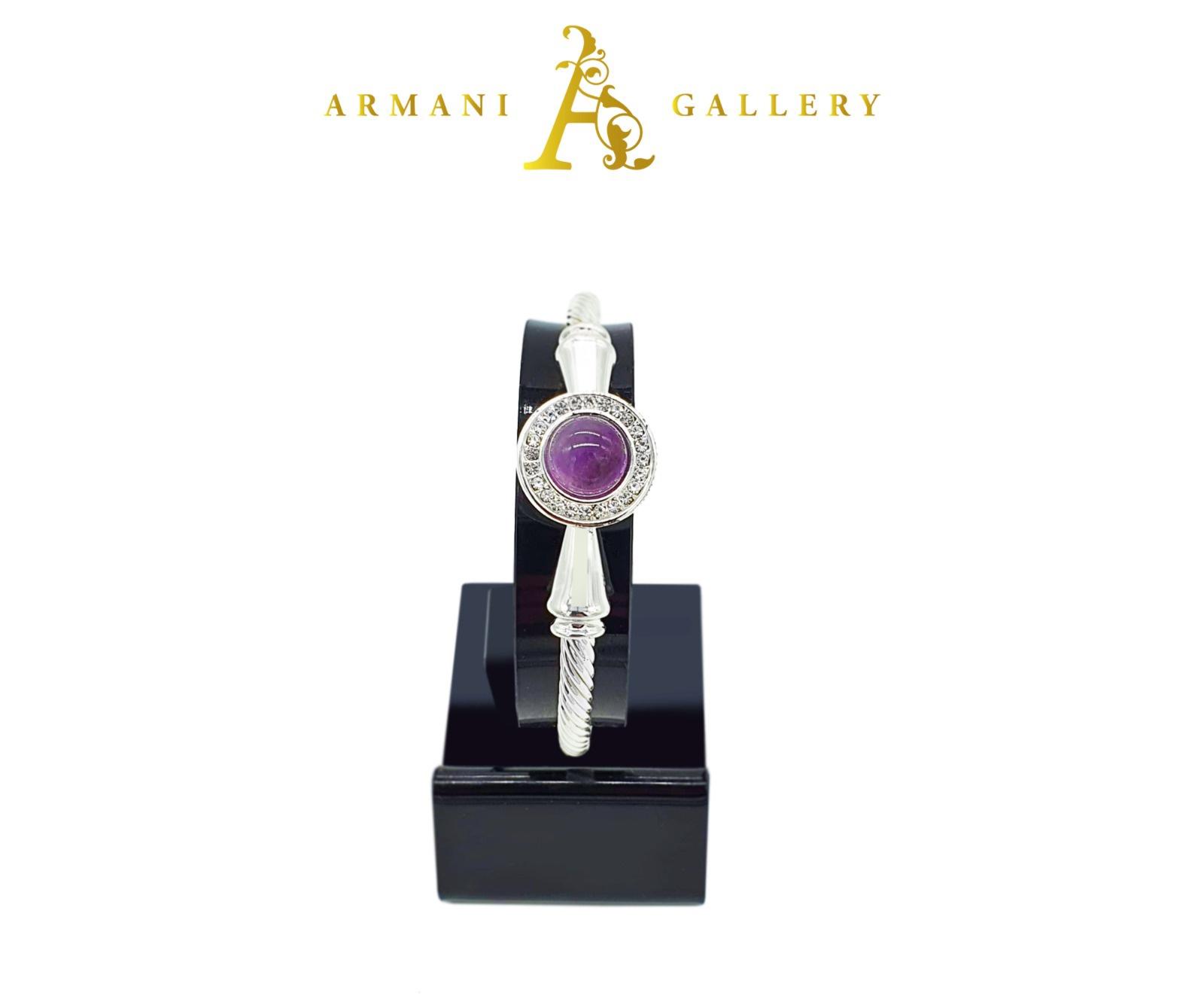Buy Round Amethyst Bracelet - Purple & Silver