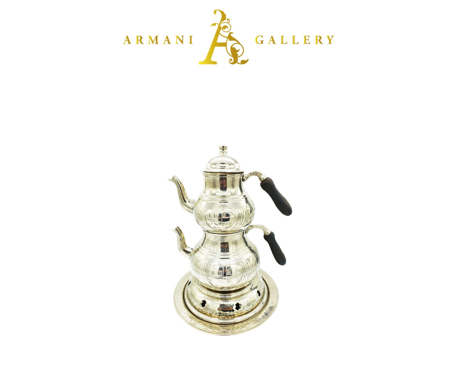 Buy Silver Turkish Tea Pot with Candle Warmer - Large