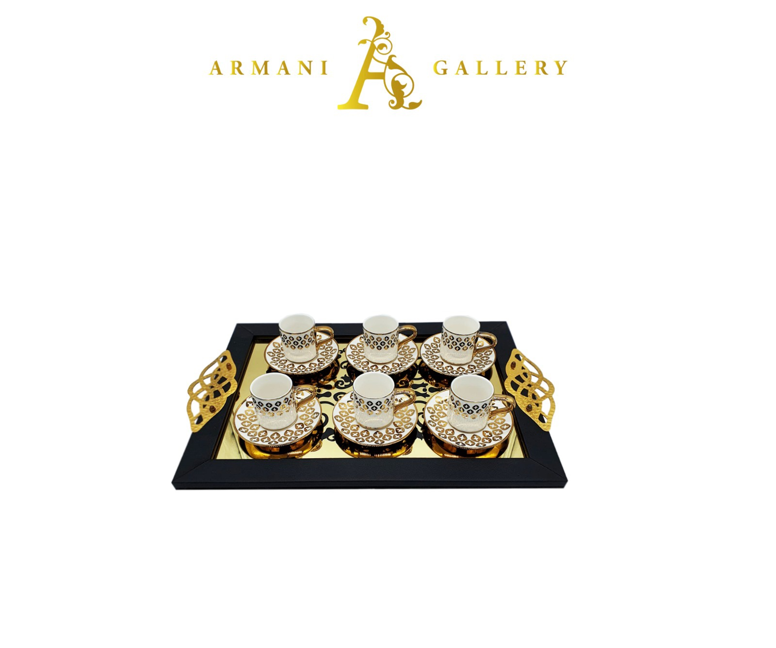 Buy Turkish Gold Coffee Set with Tray - S1
