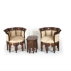 Buy Set of 2 Wooden Couches & Table