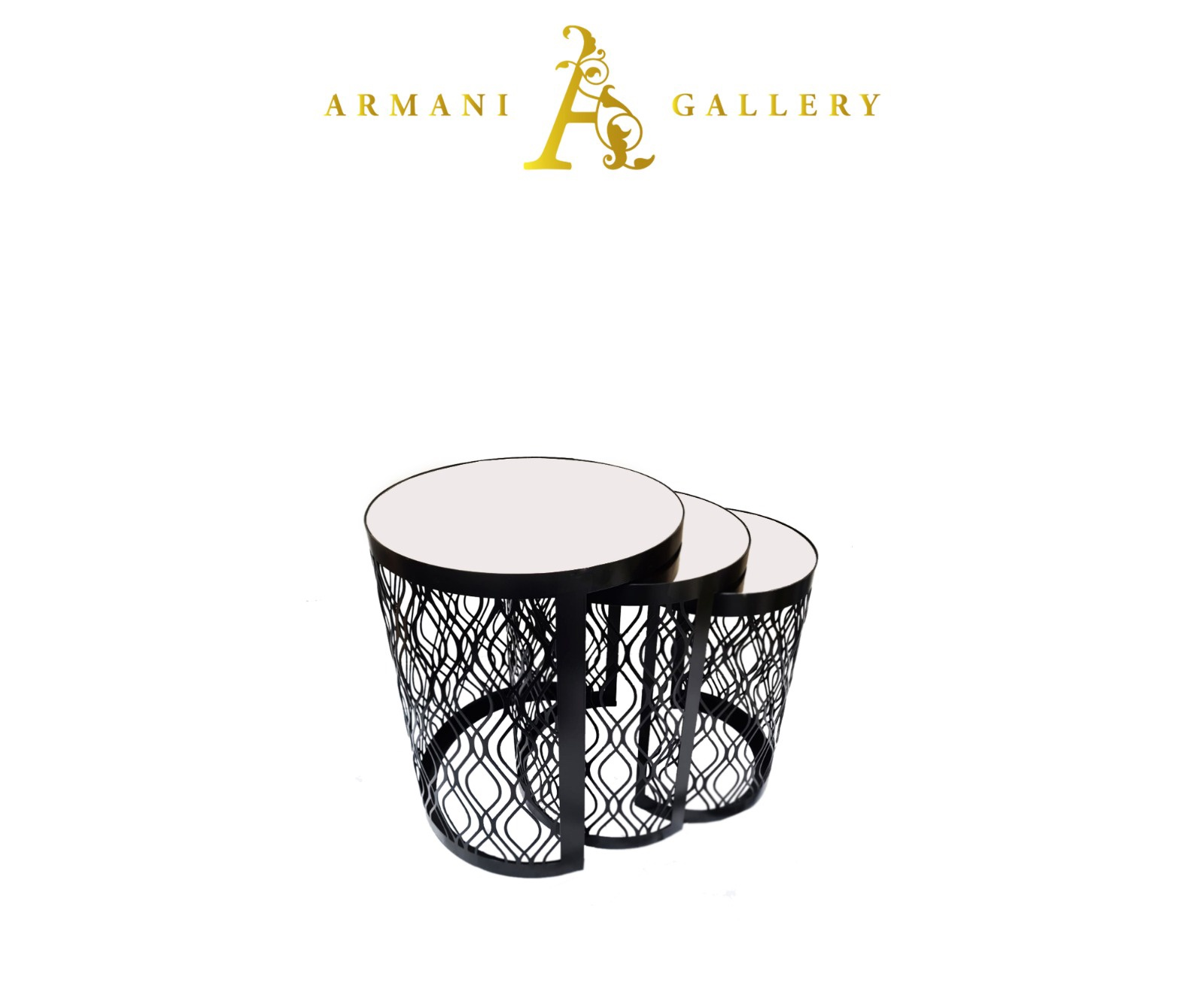 Buy Black Mirrored Glass Nest of Tables