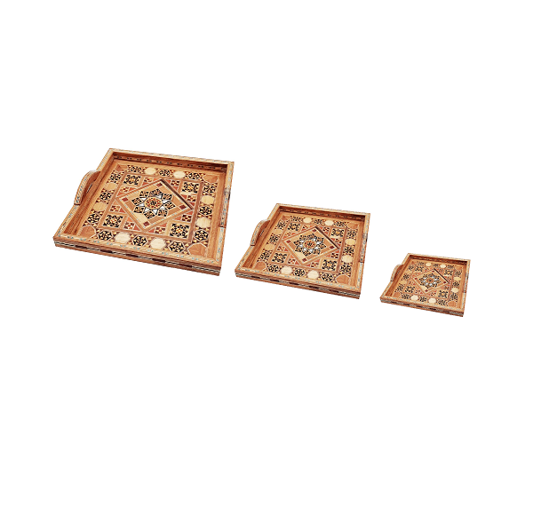Buy Set of 3 Wooden Square Serving Tray