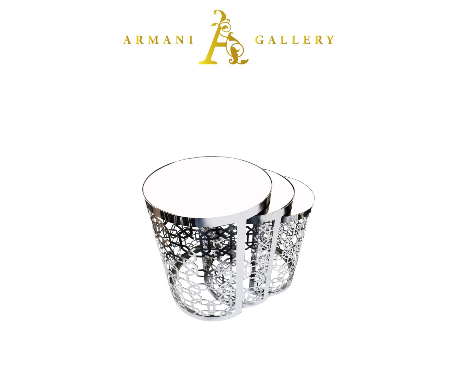 Buy Silver Mirrored Nest of Tables - Style 4