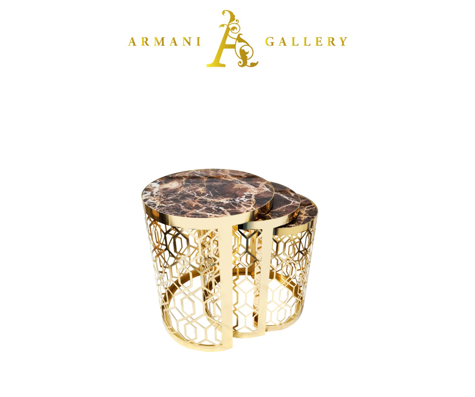 Buy Gold Marble Glass Nest of Tables - Style 2
