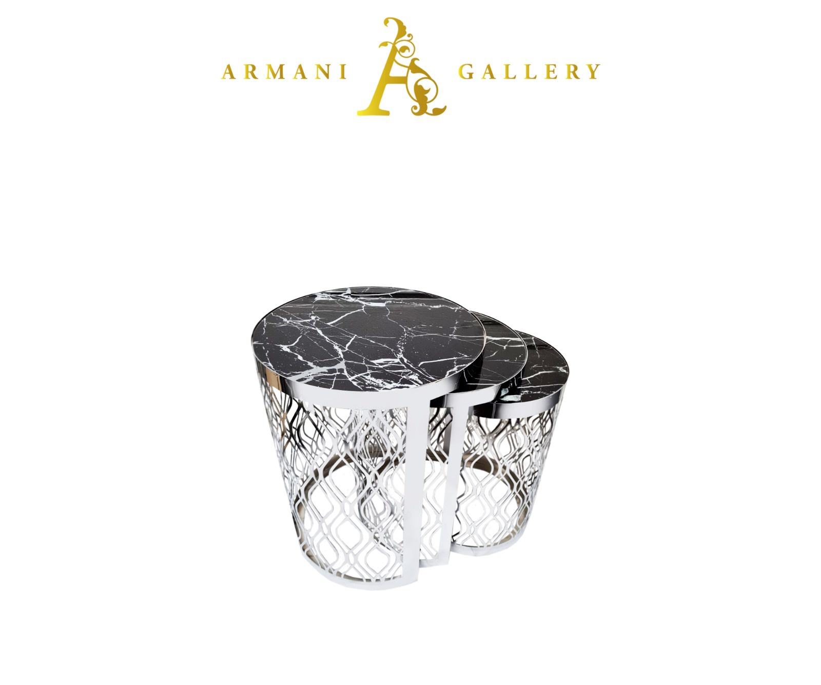Buy Silver Marble Glass Nest of Tables