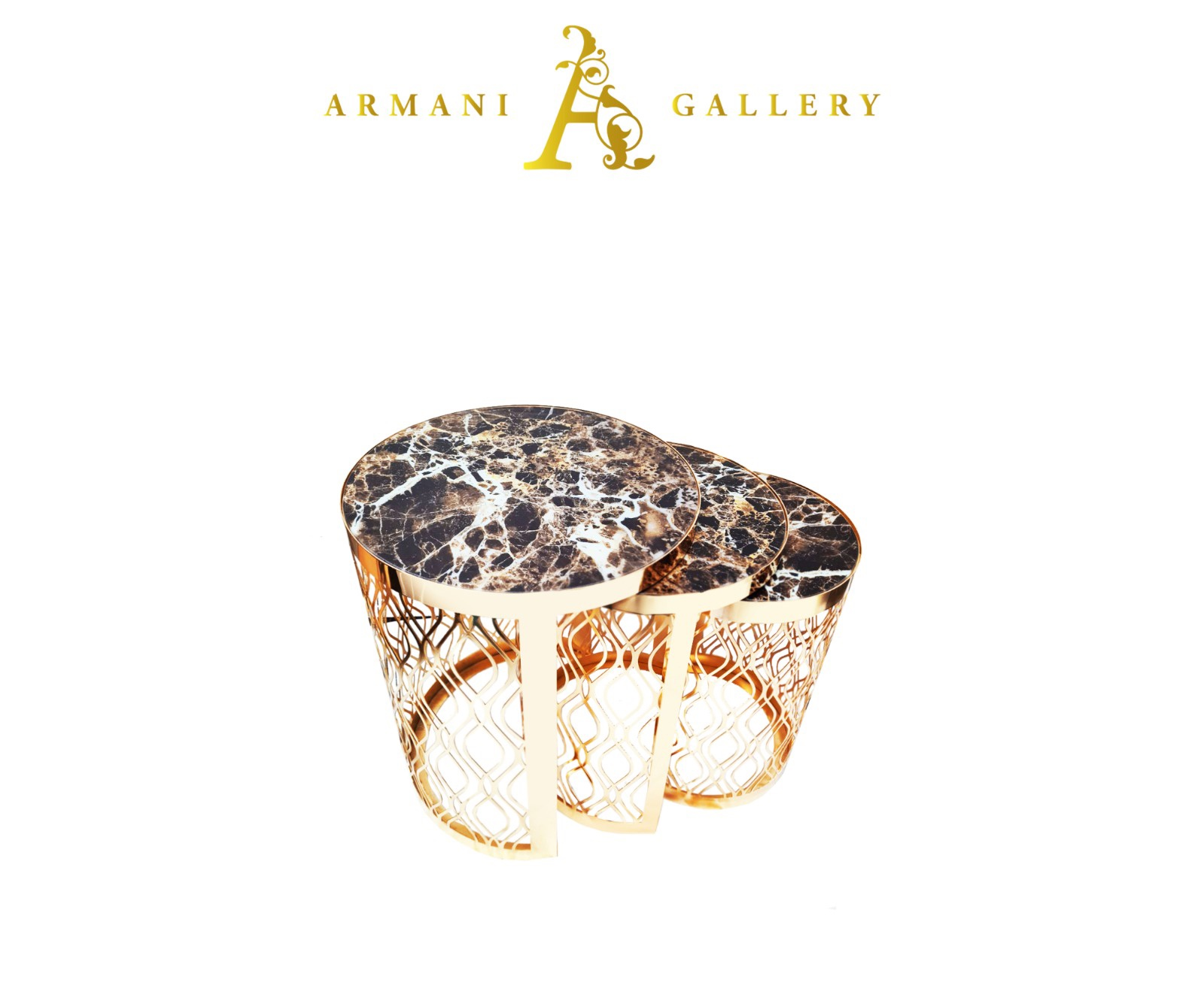 Buy Gold Marble Glass Nest of Tables - Style 1
