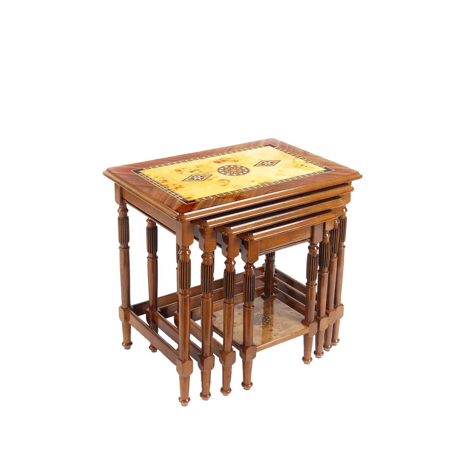 Buy Brown & Biege Deluxe Wooden Nest of Tables