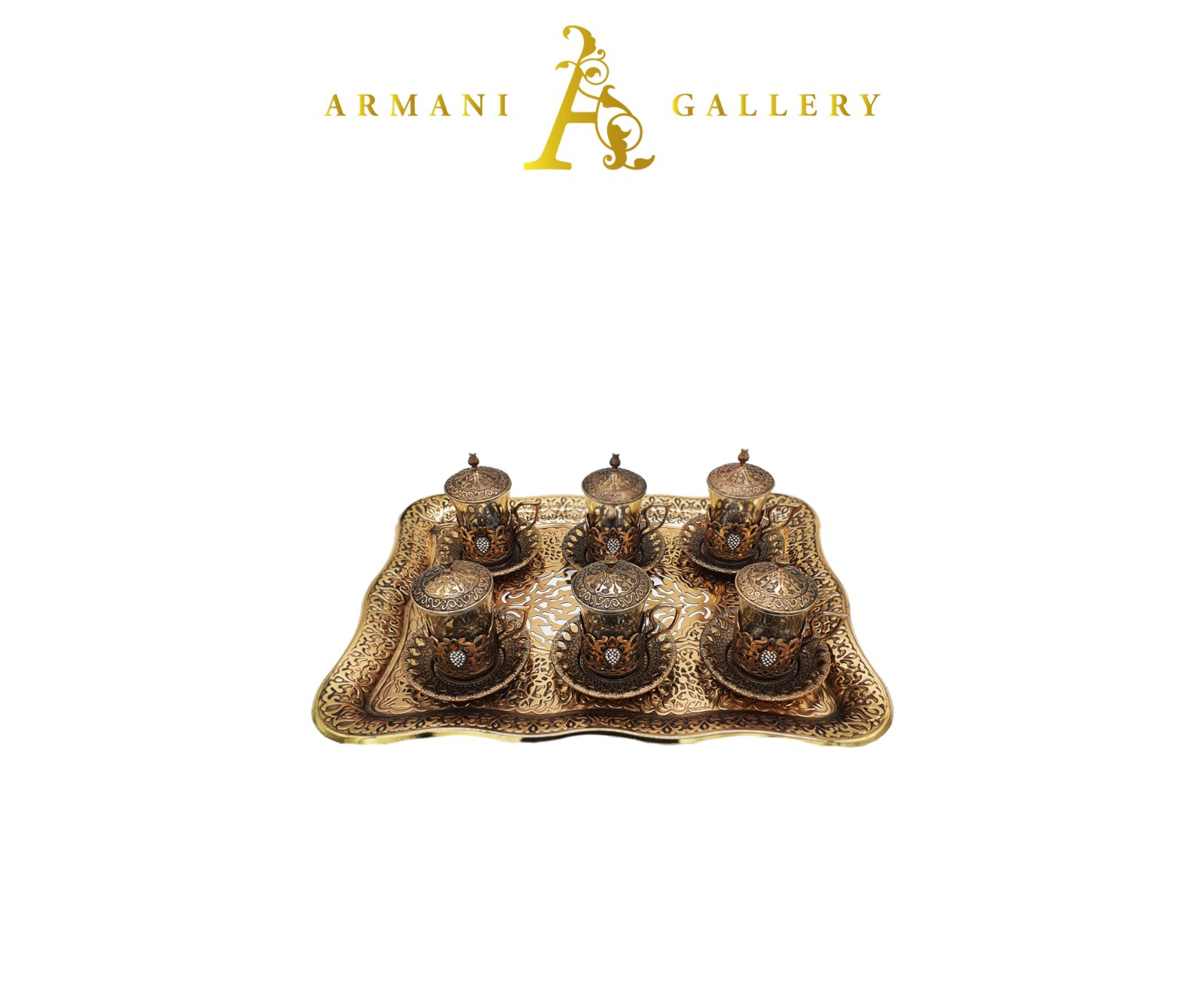 Buy Turkish Bronze Coffee Set with Tray