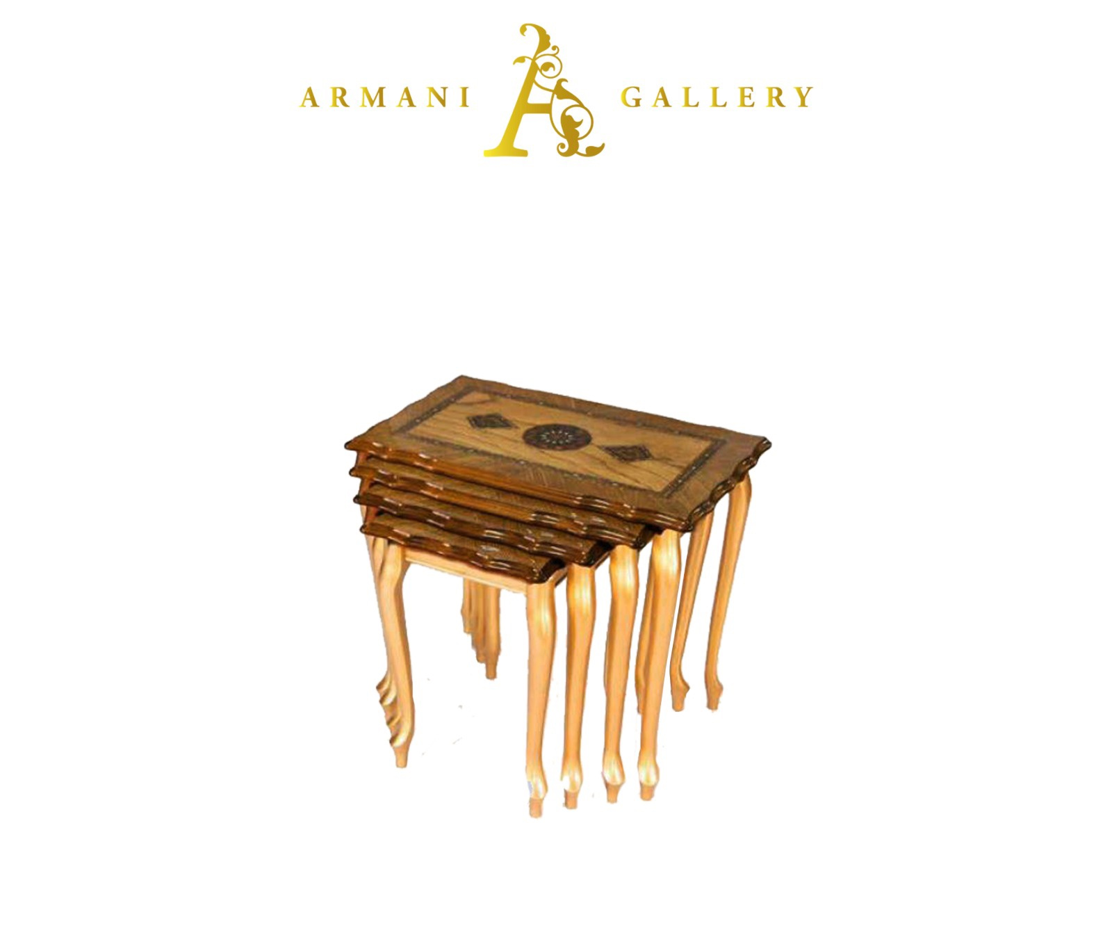 Buy Brown & Gold Royal Wooden Nest of Tables