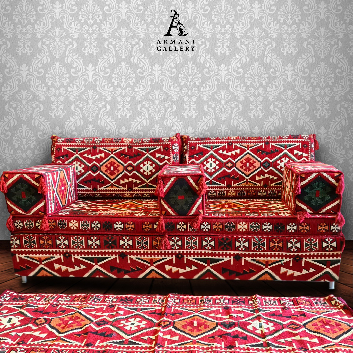 Buy Arabian Couch + Cushion Set - Red