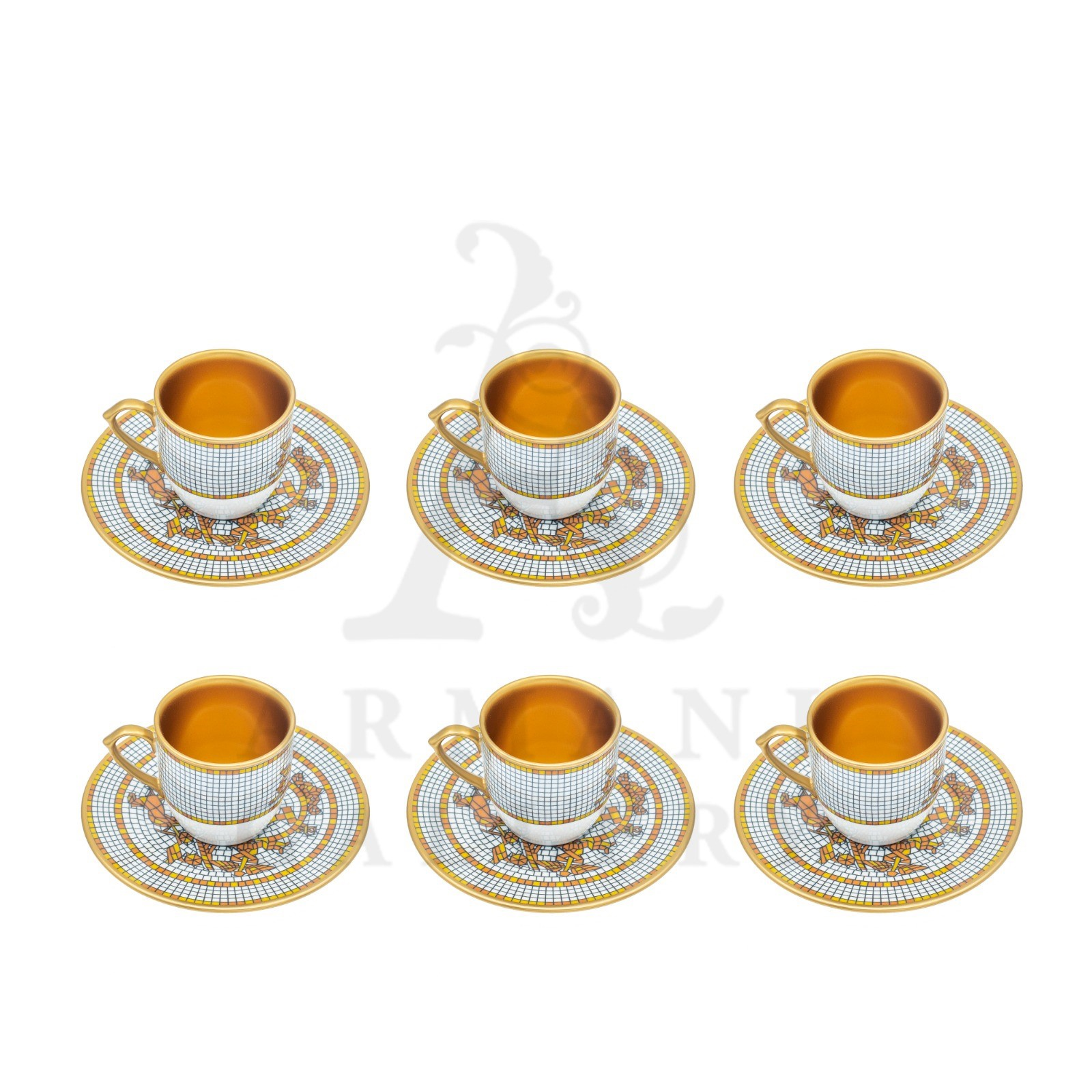 Buy Turkish Coffee Set Hermes Horse Grey and Gold 12 Pcs