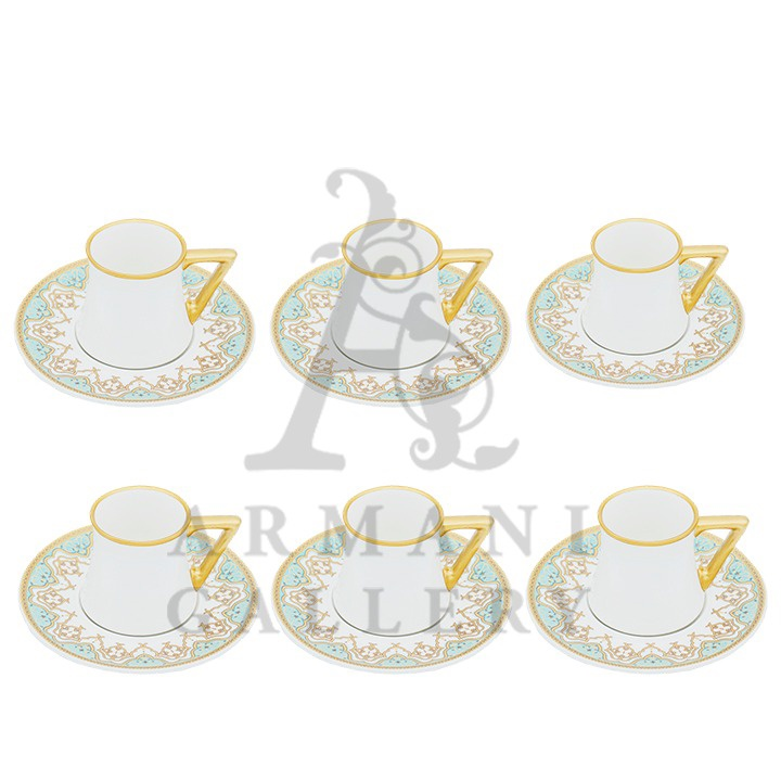 Buy Coffee Cup Set with Triangle Handle Green and Brown 12 Pcs