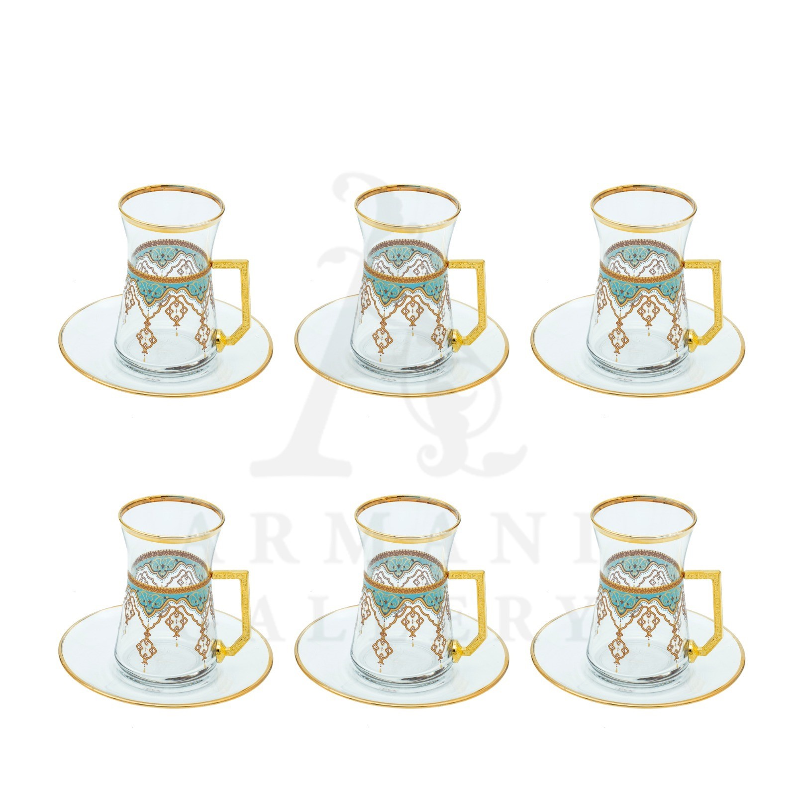 Buy Glass Drinking Tea Cup Set with Gold Handle and Saucer Green and Gold