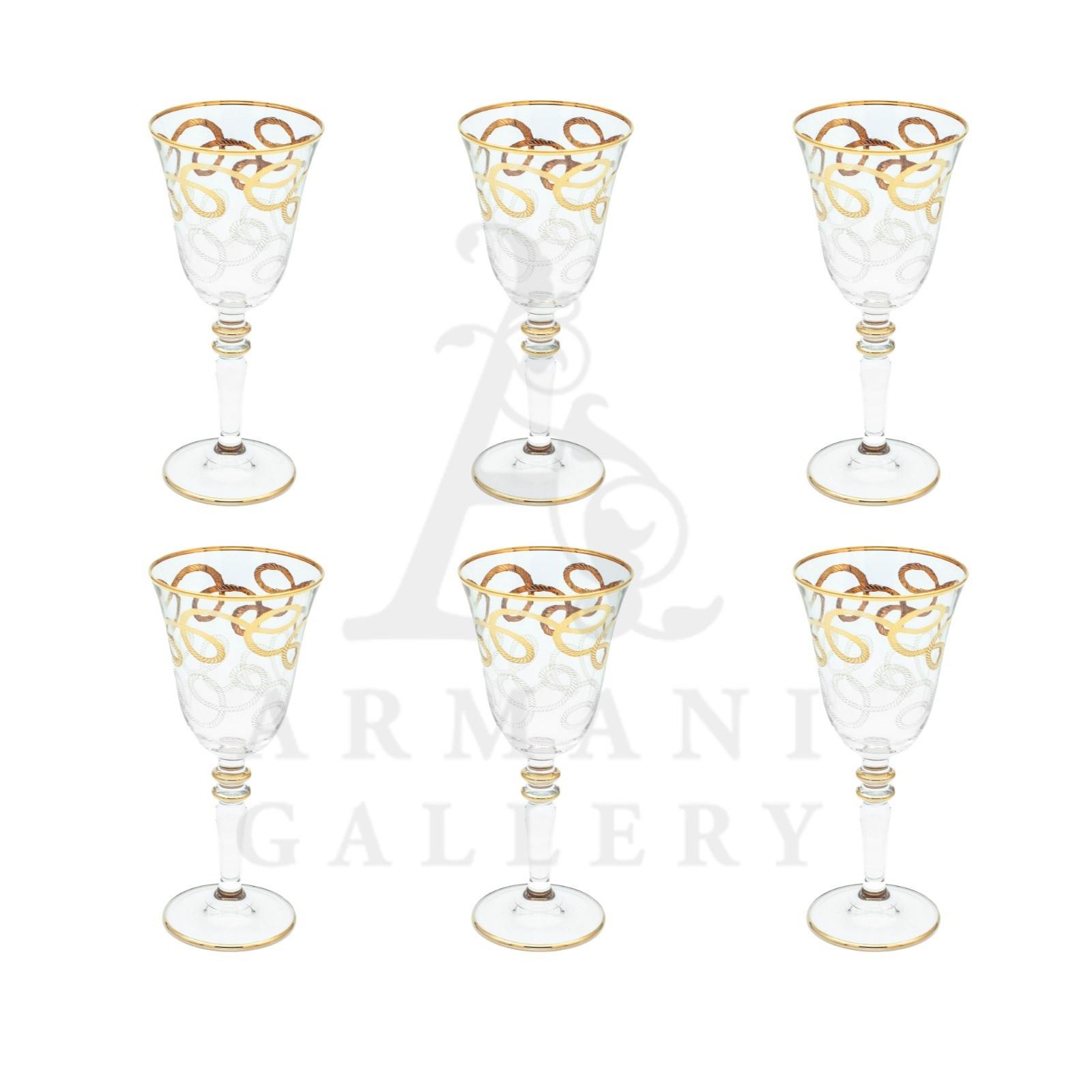 Buy Long Soft Drink Glass Set Eddy Gold Circle 6 Pcs