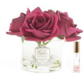 Buy Five Rose CarmineRed clear glass with silver crest