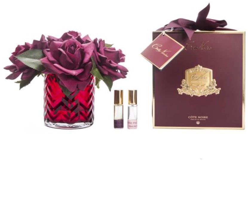 Buy HCF06 - RED Herringbone glass - Carmine Red Roses