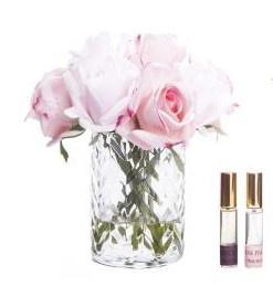 Buy CLEAR Herringbone glass Flowers - Mixed Pink Rose Buds
