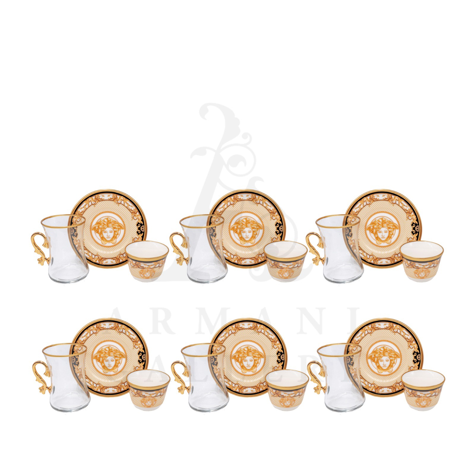Buy Coffee and Tea Cup with Handle Set Versace Criss Cross 18 Pcs