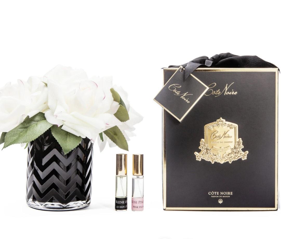 Buy HCF01 BLACK Herringbone glass - Blush & White Rose