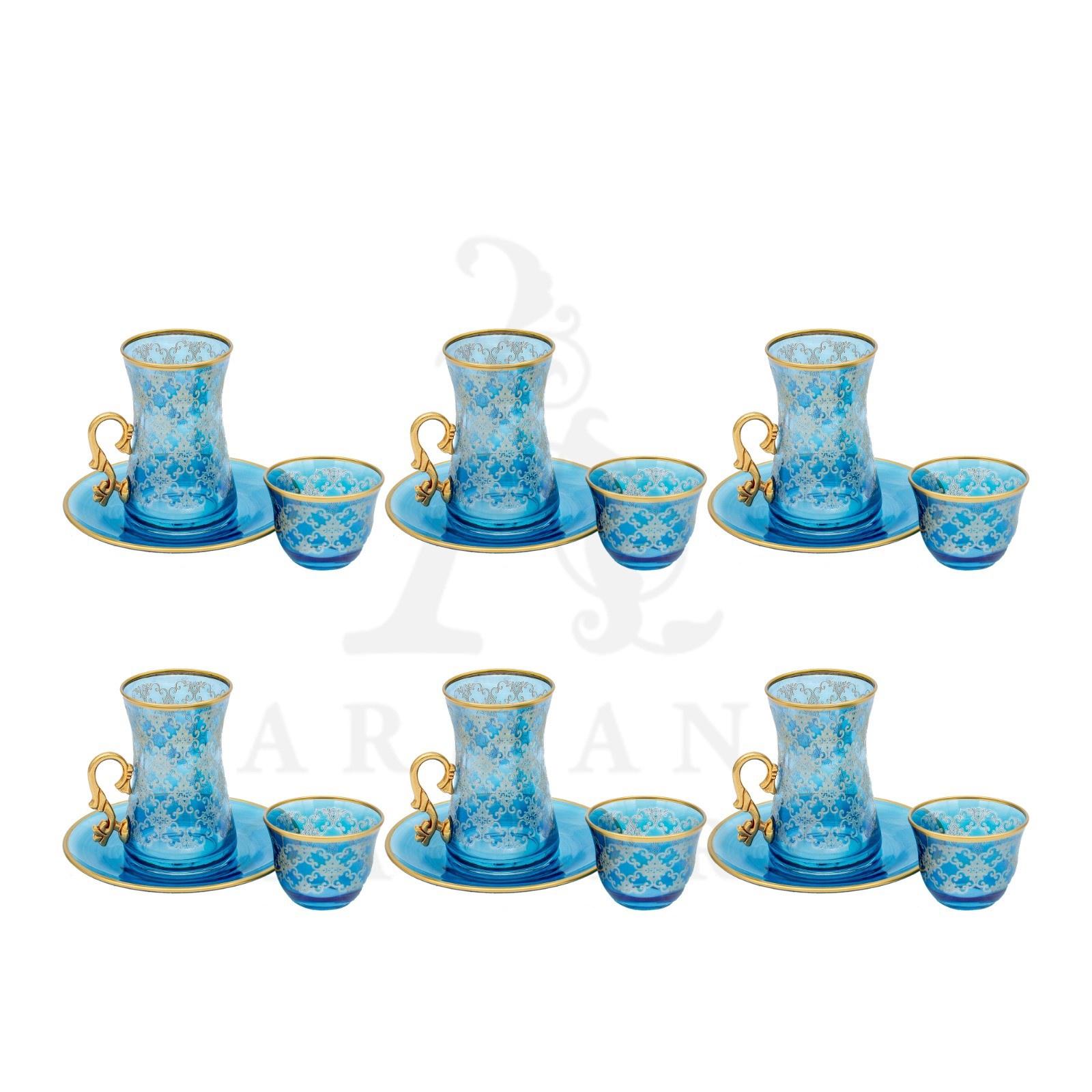 Buy Tea Cup Set Rhomb Blue Gold Rim 18 Pcs